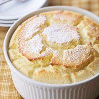 """lemon souffle dessert from """"better homes & gardens""""  http://www.bhg.com/recipe/layer-cakes/lemon-souffle-dessert/"""
