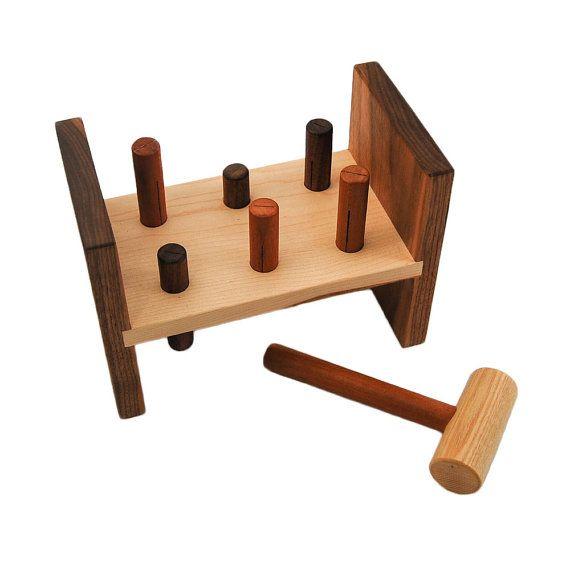 Wooden Hammer Toy personalized peg kids tool by littlesaplingtoys