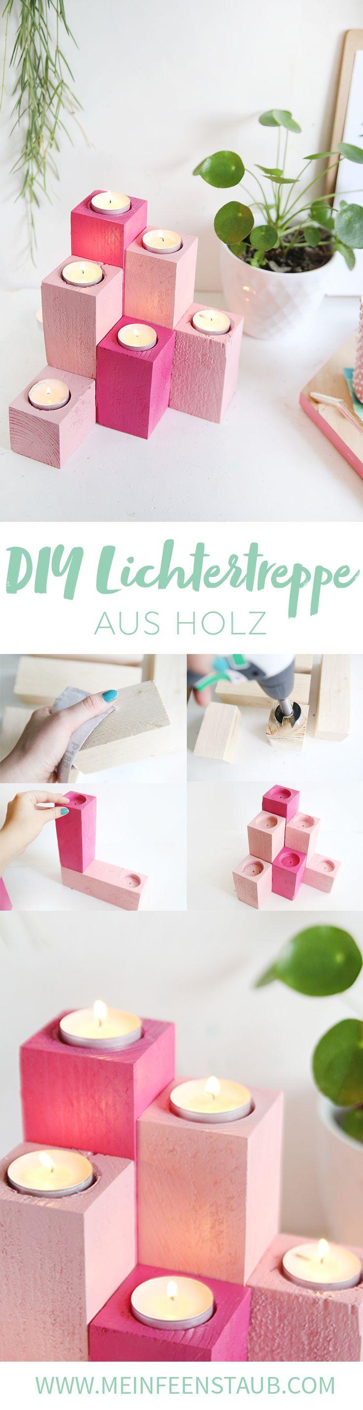 DIY Lichtertreppe aus Holz bauen – mein feenstaub – Blog: DIY, Dekoration, Lettering & Pflanzen