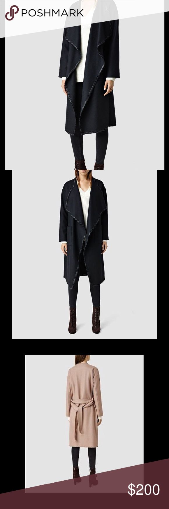 ALL SAINTS PAXX WOOL WRAP BELTED INK DRAPED COAT BRAND NEW WITH TAGS Color : Inc (black) Size: X-Small  From the exclusively sourced cloths, to the effortless silhouettes, ALLSAINTS coats are true investment pieces.   Crafted from an Italian wool blend with a unique waterfall front and whipstitch detailing along the hemlines, and featuring a waistband belt.  Versatility is key, leave open or wrap around and tie with the belt.  Pair with dark tones for an unrivalled outfit. 80% wool, 20%…