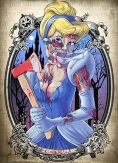 Une sélection de 22 illustrations de Witit Karpkraikaew aka Clocktowerman, dont les trois superbes Zombies Disney Princesses : Ariel la petite sirène, Cendril