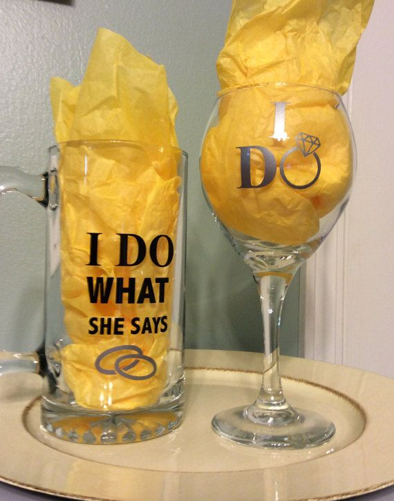 engagement gifts groom beer mug bride wine glass i do wine glass i do what she says beer mug his her glasses wedding gift i do when in white