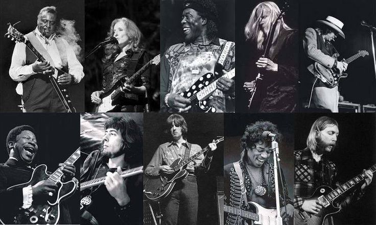du coin supérieur gauche: Albert King, Bonnie Raitt, Buddy Guy, Johnny Winter, Stevie Ray Vaughan, B.B. King, John Mayall, Eric Clapton, Jimi Hendrix, Duane Allman.