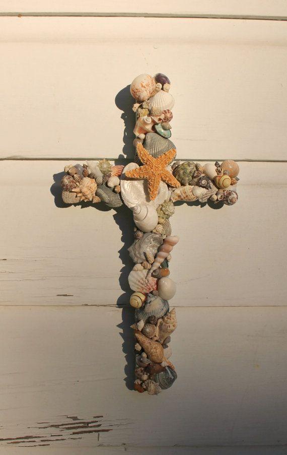Seashell Cross/Beach House Decor/Reclaimed Wood Cross ~ by My Honeypickles