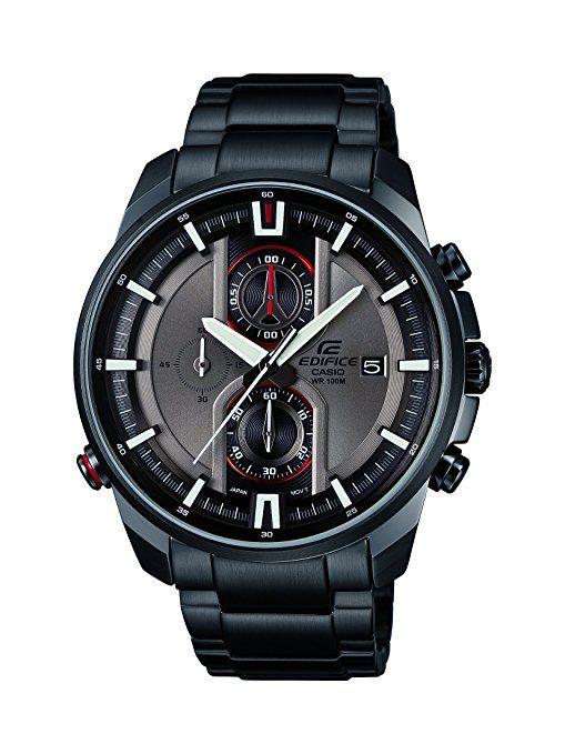 Casio Edifice EFR-533BK-8AVUEF - Reloj analógico de cuarzo para hombre, correa de acero inoxidable color gris (agujas luminiscentes, luz)