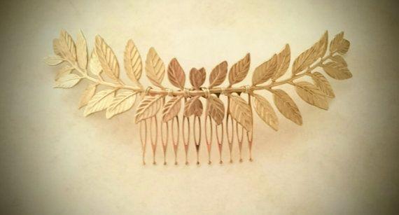 Large Laurel Leaf Bridal Hair Comb Gold Leaf Hair Comb by OLIVIABRUN