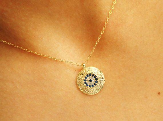 Evil eye necklace, gold evil eye jewelry, cubic zirconia, statement necklace turkish eye necklace gem traditional arabic kaballah jewelry