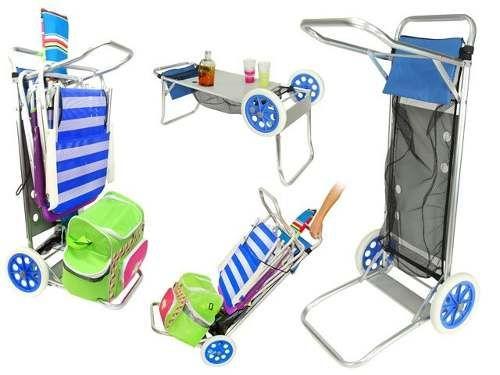 carro mesa porta sillas aluminio para playa y camping oferta