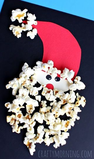 "Popcorn Santa Claus Christmas Craft for Kids ""Just poppin' by to say Merry Christmas!"" card idea 