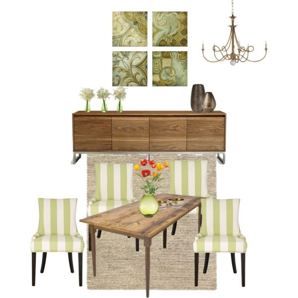"""Dining Room in Soft Green"" by shellytot on Polyvore"