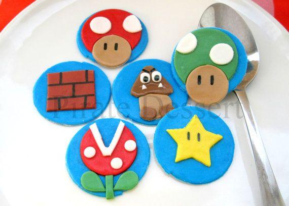 Toppers de cupcake de Super Mario Bros por PirateDessert en Etsy