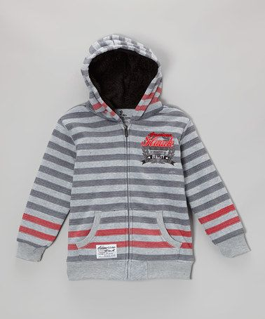 Take a look at this Charcoal & Red Stripe Zip-Up Hoodie - Toddler & Boys on zulily today!