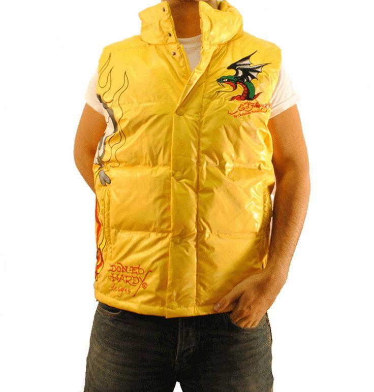 Ed Hardy Mens Flaming Skull Puffer Vest – Yellow