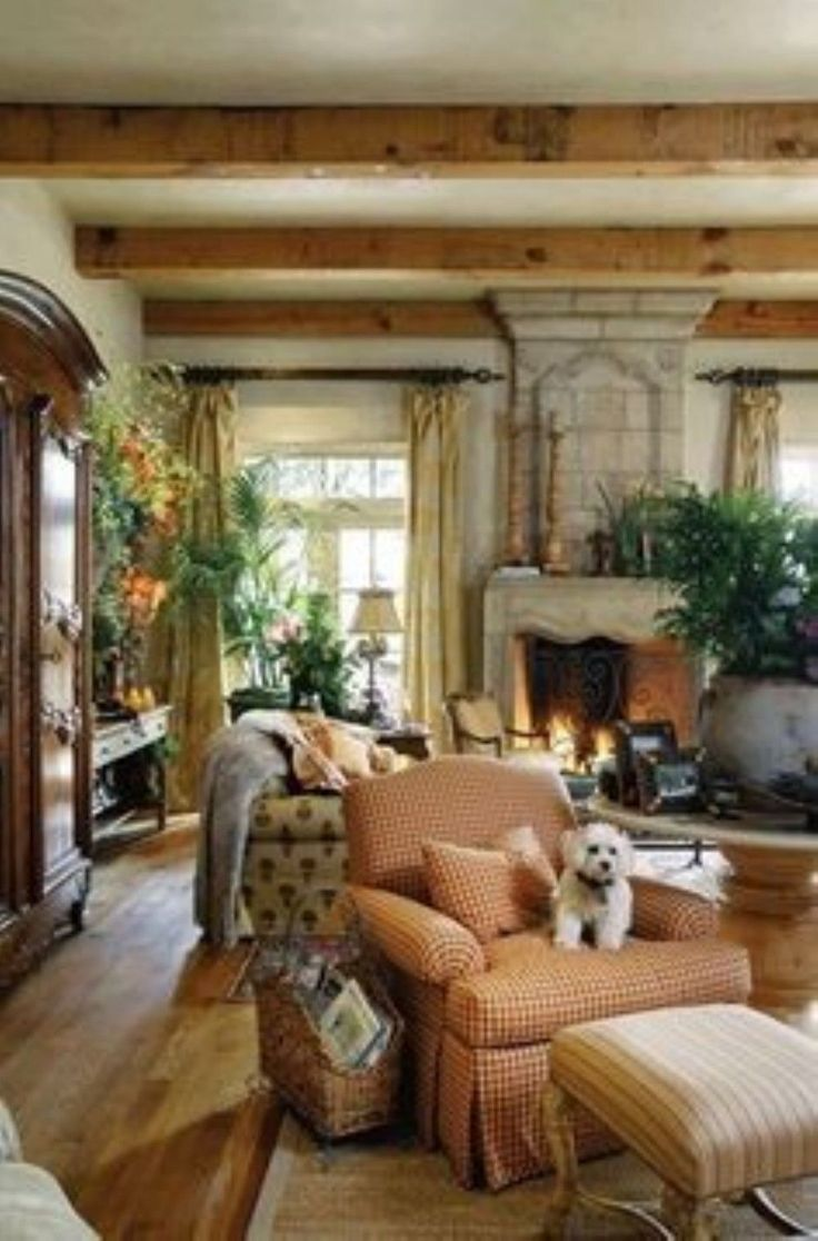 French Country Living Room- ceiling beams, raw wood, rustic/old-world,  strong colors.paint color for living room?
