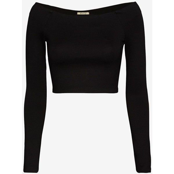 torn by ronny kobo Off The Shoulder Crop Top: Black (£74) ❤ liked on Polyvore featuring tops, shirts, crop tops, long sleeves, crops, black, long-sleeve shirt, cut-out crop tops, shirt crop top and off the shoulder tops