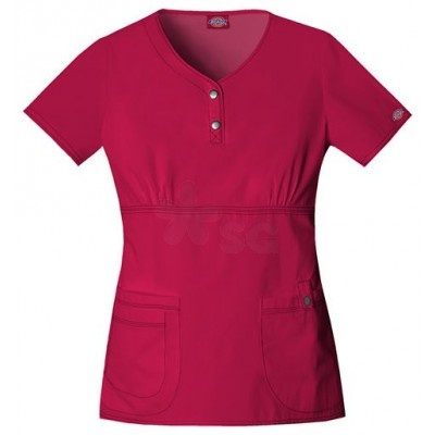 This scrub's right pocket has an extra exterior pocket with a pen slot and left pocket has a tab with a functional snap.