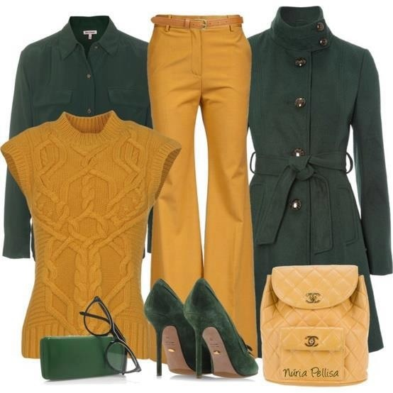 Love the mustard yellow with the green in this outfit.