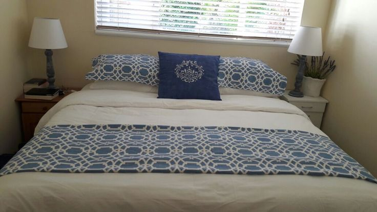 Leonie painted the linen cushion cover in ASCP Aubusson Blue. We stenciled over this in Old White, then waxed to soften the fabric. This was her inspiration for the duvet cover and pillow cases she then made to tie it all together.
