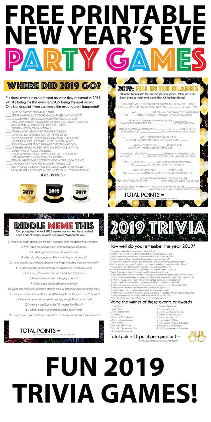 2019 Trivia New Year's Eve Games New years eve games