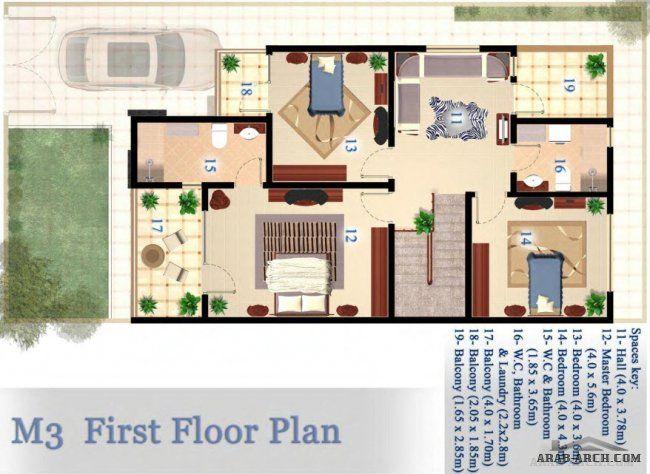 مخطط فيلا 10 20 متر 200 متر مربع 4 غرف نوم نيو أزادي Residential Architecture Floor Plans Bathroom Space