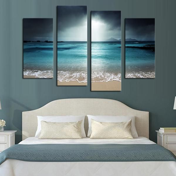 Stormy Beach - 4 Panel Canvas
