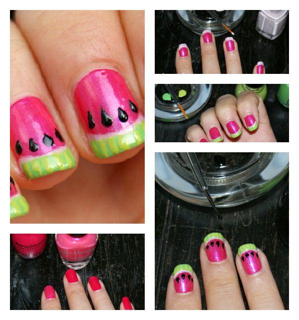 So summery!     #watermelon #nails #diy #nail #tutorials #easy #cute #summer #manicure
