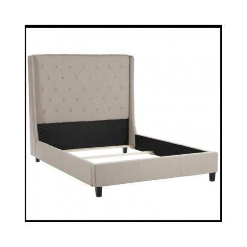 Upholstered-Wingback-Bed-Frame-King-Size-Bedroom-Furniture-Headboard-Tufted-Room