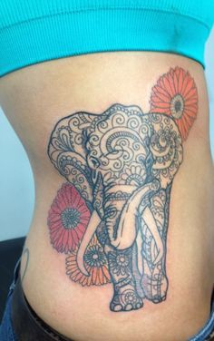 indian elephant tattoo - maybe butterflies instead of flowers