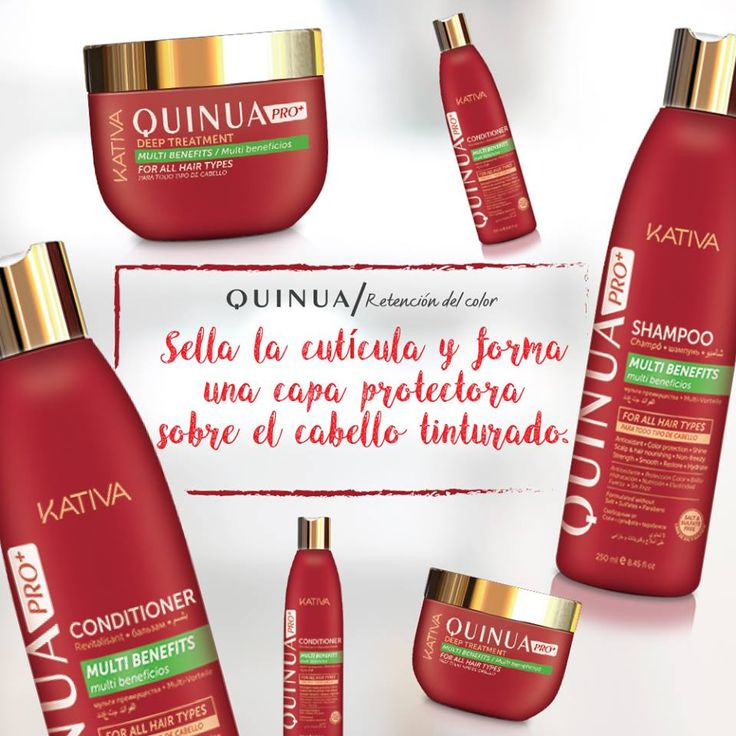 Kativa Natural Quinua Pro • Η σειρά KATIVA QUINUA PRO παρέχει τη λύση για τα βαμμένα μαλλιά, παρέχοντας δύναμη, φωτεινότητα και λάμψη στο χρώμα των μαλλιών σας. • Αποτρέπει το ξεθώριασμα των βαμμένων μαλλιών, παρατείνοντας το λαμπερό τους χρώμα • Είναι χωρίς αλάτι και θειικά, αποτρέποντας την ξηρότητα και την κακοποίηση των μαλλιών.
