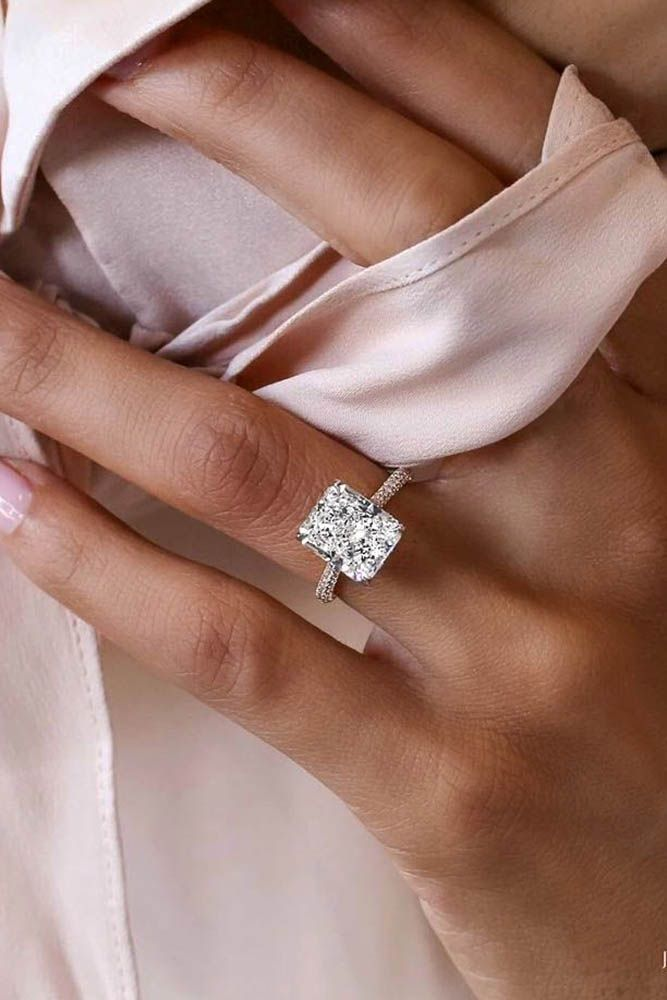24 TOP Engagement Ring Ideas ❤️ top engagement ring ideas emerald cut pave band white gold ❤️ See more: http://www.weddingforward.com/top-engagement-ring-ideas/ #wedding #bride