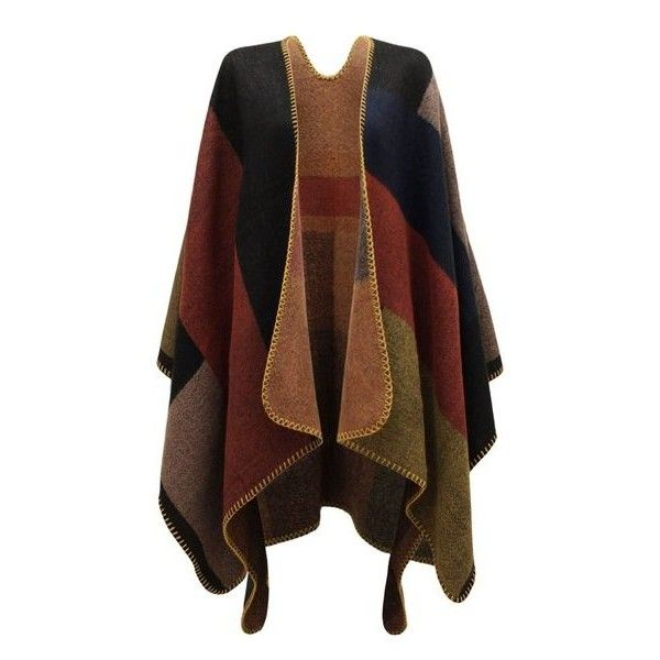 CHAOS THEORY WOMENS LADIES CHECKED KNITTED WINTER TARTAN CAPE... ($13) ❤ liked on Polyvore featuring outerwear, tartan poncho, plaid cape coat, plaid capes, tartan cape and cape poncho
