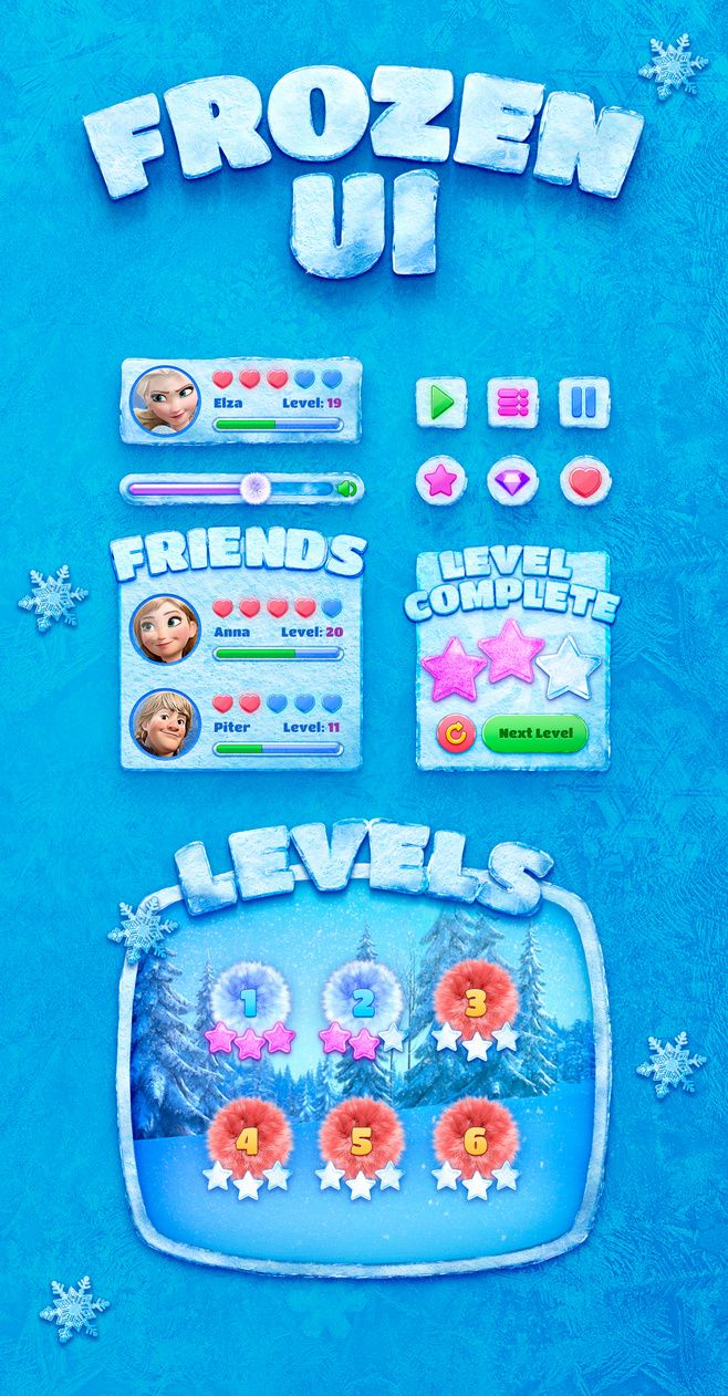 Frozen Game UI Design