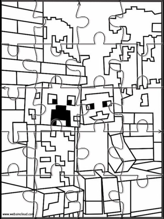 Minecraft 9 Jigsaw Stampa E Colora Il Puzzle Attivita Per Bambini Nel 2020 Minecraft Puzzle Attivita Per Bambini