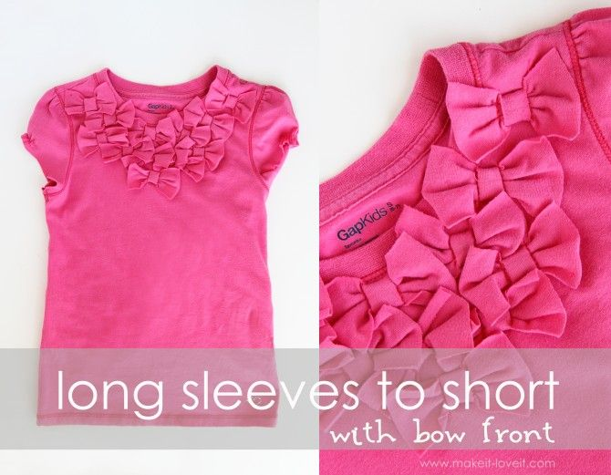 long sleeves to short w/bow front: Front Shirts, Kids Shirts, Cute Bows, Long Sleeve Shirts, Girls Shirts, Diy T Shirts, Make Bows, Bows Front, Shorts Cut