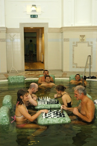 playing chess in the thermal water, Szeged, renovated Anna Bath