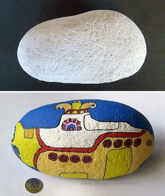 Before: a large, primed rock - After: a yellow submarine