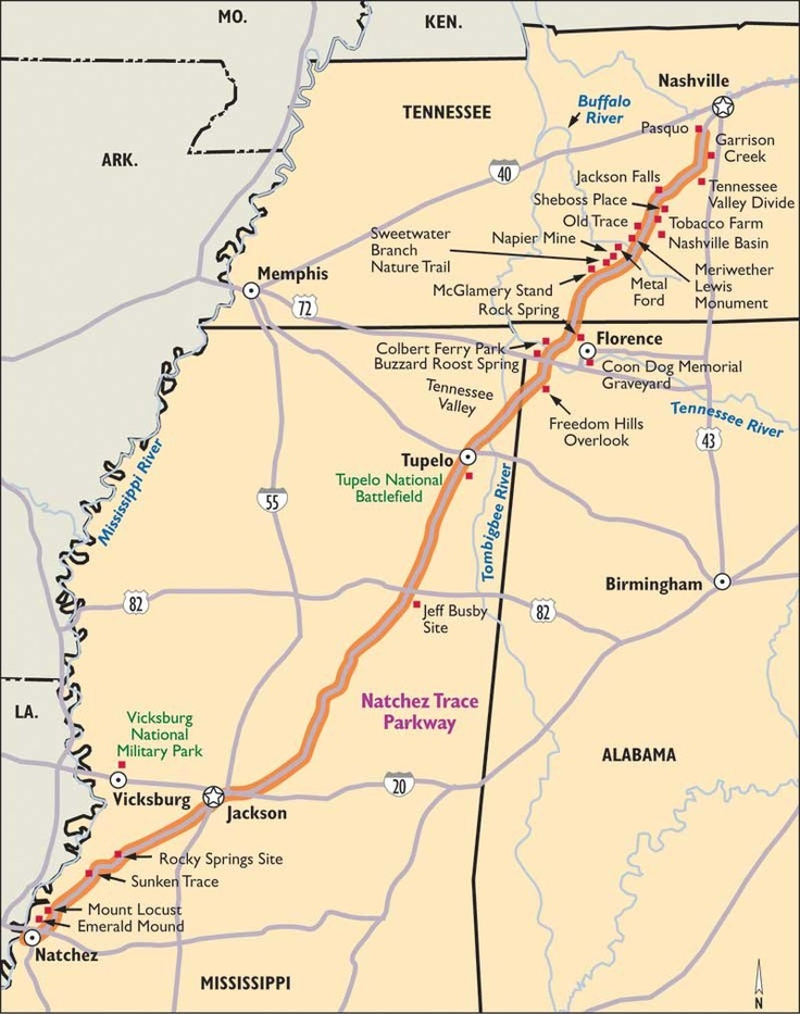 Natchez Trace Parkway We travelled it from Tupelo, Mississippi to Natchez, Mississippi
