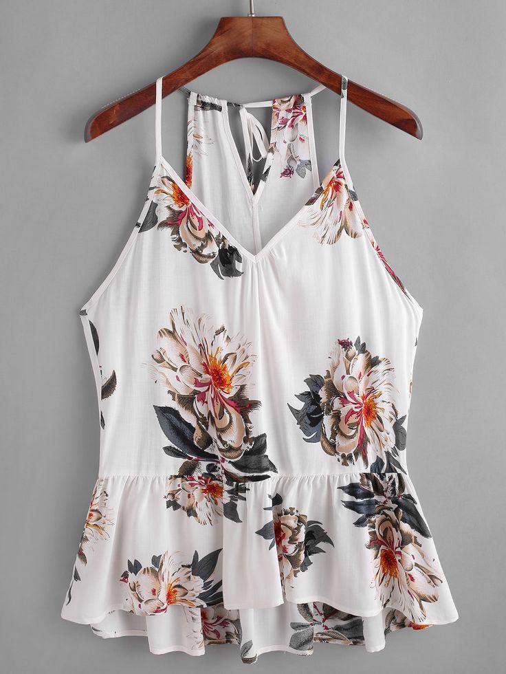 Top con estampado de flor de espalda con aberturas con péplum -Spanish SheIn(Sheinside)