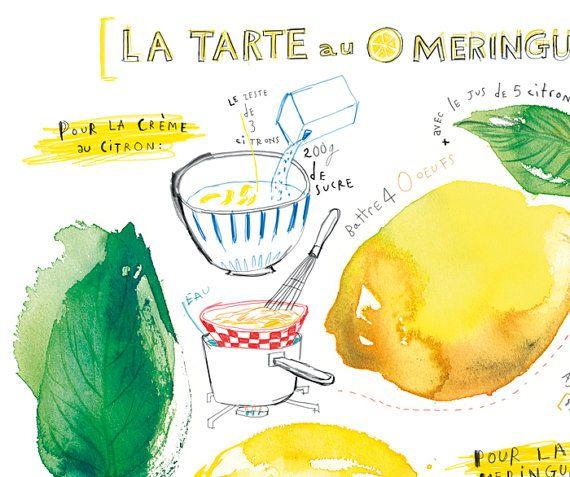 Lemon meringue pie illustrated recipe poster door lucileskitchen