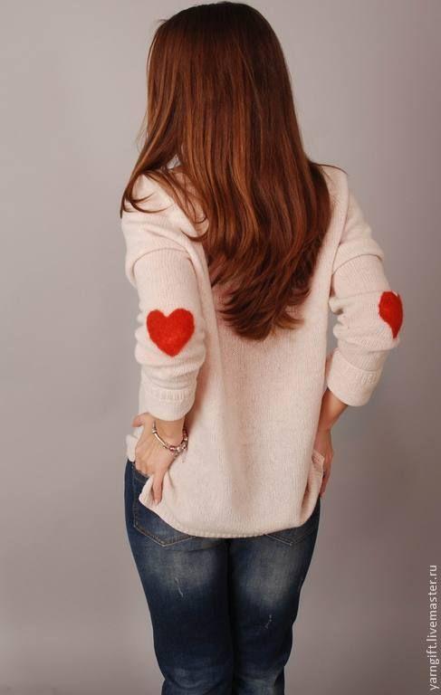 Купить Белый свитер С любовью - белый, вязаный свитер, белый свитер, женский свитер