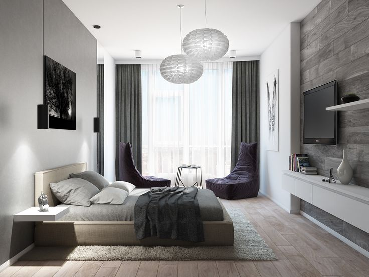 Спальня для мужчины. Дизайнер Татьяна Зайцева решила использовать в интерьере солидные базовые тона и естественные фактуры, которые ассоциируются со стабильностью и сильным характером.