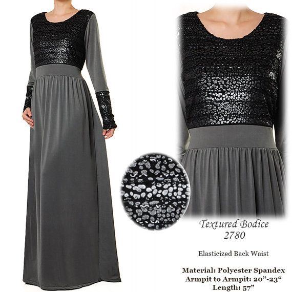 2780 Textured Bodice Jersey Long Sleeved Islamic by MissMode21