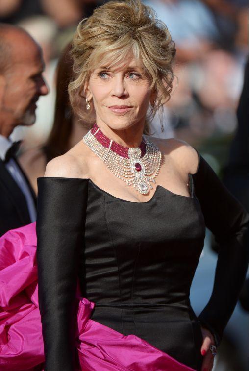 "Jane Fonda con collar ""Makeda"" de la colección ""Royal"" de Cartier / Jane Fonda with ""Makeda"" necklace from Cartier Royal collection"