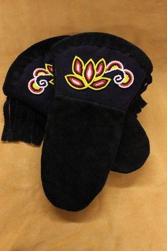 Women's Black Hide Gautlet. #Aboriginal #Art