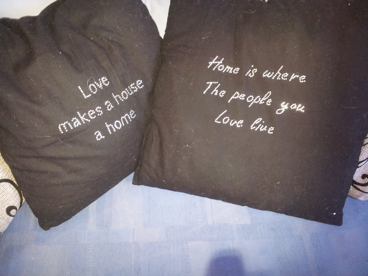 Turn your old boring pillow into a new modern pillow. Just add bling in a nice text or image.