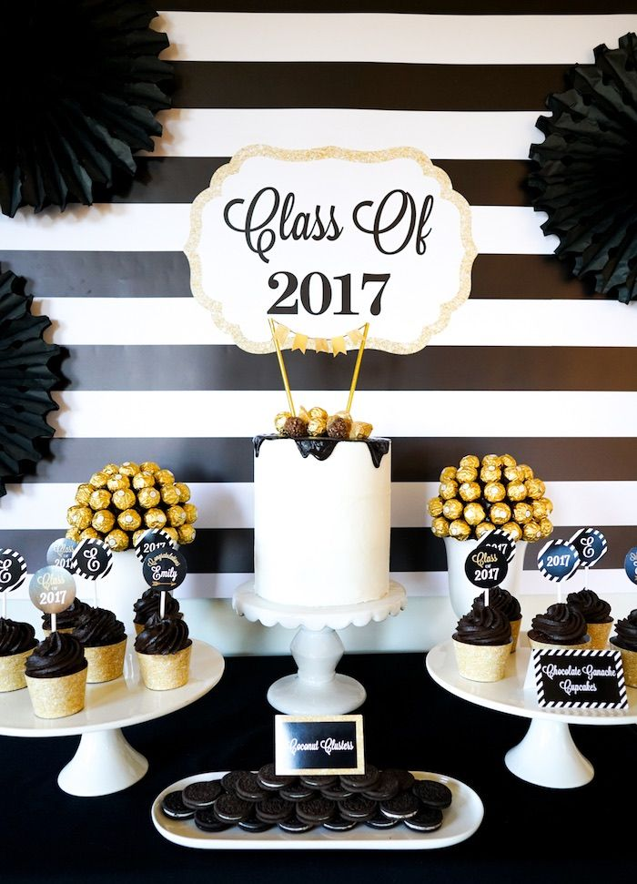 """Cakescape from a """"Be Bold"""" Black & Gold Graduation Party on Kara's Party Ideas 