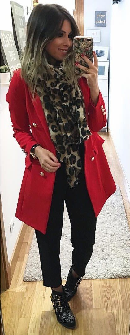 #fall #outfits  women's red trench coat, leopard scarf and black pants
