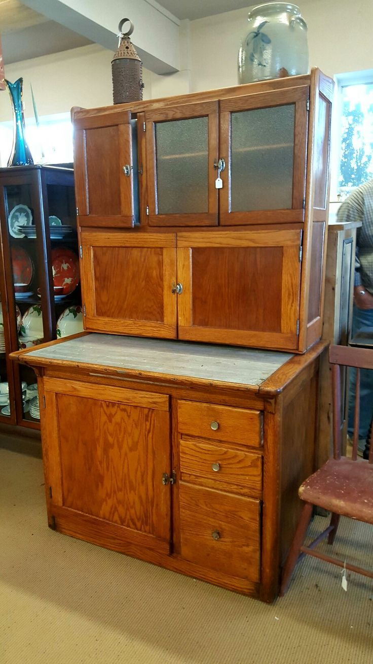 Older Hoosier Cabinet With Pull Out Metal Lined Table, Sifter And All The  Internal Parts