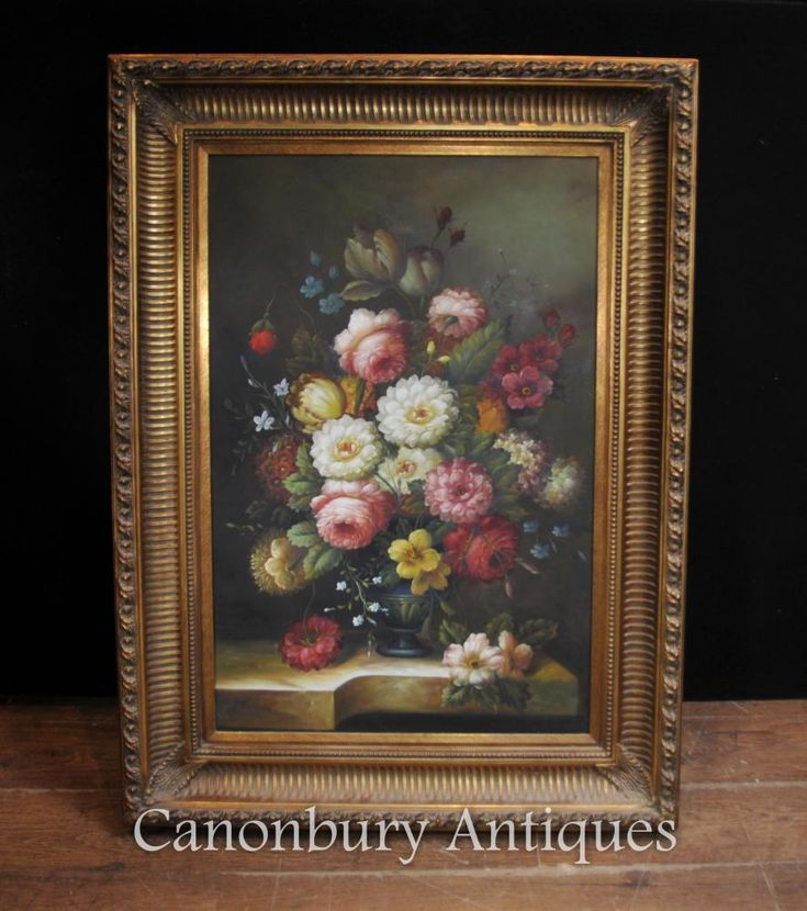 Victorian Floral Still Life Oil Painting Gilt Frame ...