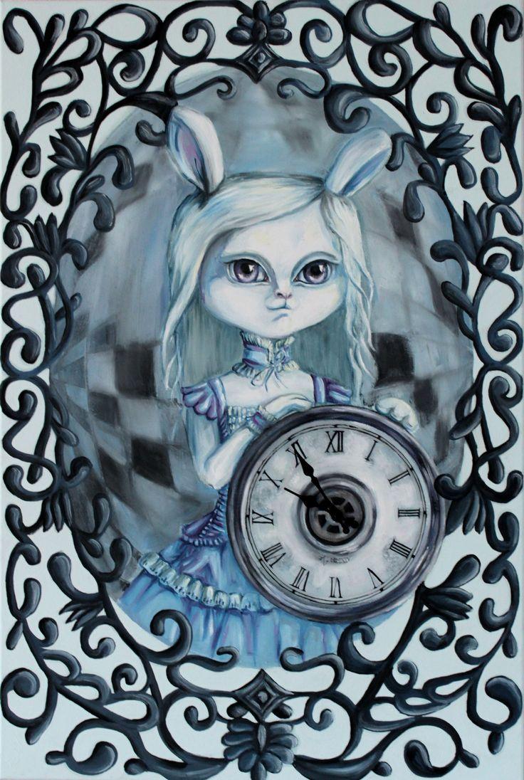 """ Duality of time"" - Oilpainting - Rabbit art - bunny art - clock"